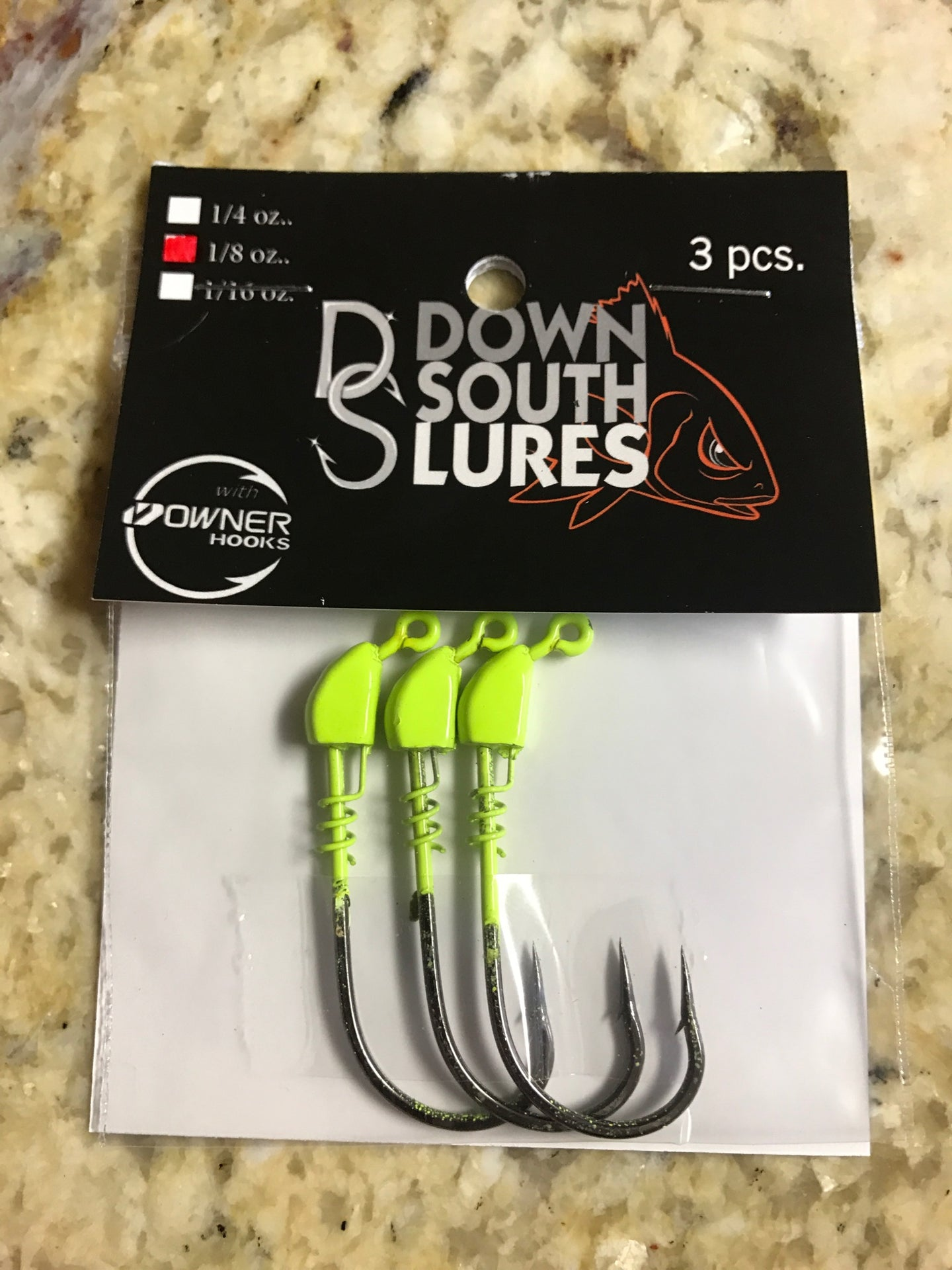 Down South Lures Jigheads 1/8 oz. 4/0 Chartreuse
