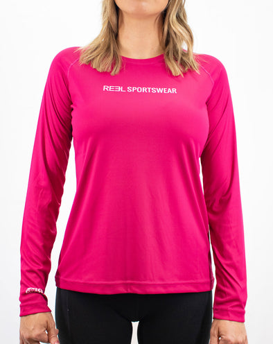 REEL Sportswear Women's Whole Hearted Long Sleeve Performance Shirt - Cerise