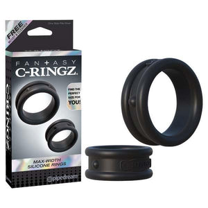 Fantasy C-Ringz Max Width Silicone Rings - Black Cock Rings - Set of 2