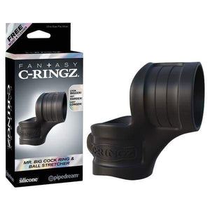 Fantasy C-ringz Mr Big Cock Ring And Ball Stretcher - Black Cock & Ball Rings