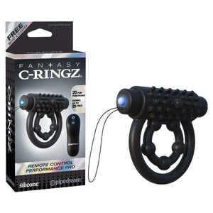 Fantasy C-ringz Remote Control Performance Pro - Black Vibrating Cock & Ball Rings with Remote