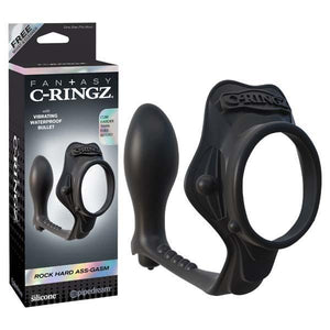 Fantasy C-ringz Rock Hard Ass-gasm - Black Cock Ring with Vibrating Anal Plug