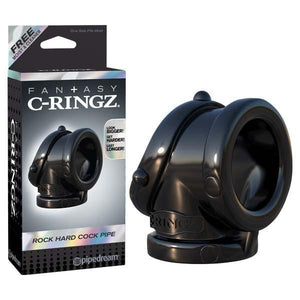 Fantasy C-ringz Rock Hard Cock Pipe - Black Cock & Ball Rings