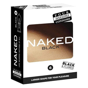 Four Seasons Naked Black - Ultra Thin Black Condoms - 6 Pack