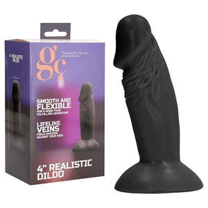 GC. 4 Inch Realistic Dildo - Black 11.4 cm Dong