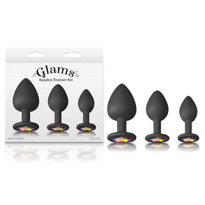 Glams Spades Trainer Kit - Black Butt Plugs with Gems - 3 Sizes