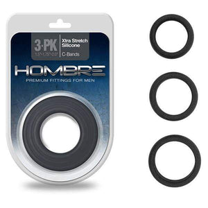 Hombre Xtra Stretch C-Bands - Charcoal Grey Cock Rings - Set of 3 Sizes