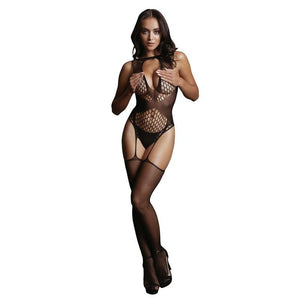 LE DESIR Contrast Suspender Bodystocking - Black - One Size