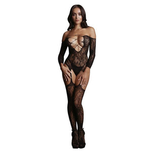 LE DESIR Criss Cross Neck Bodystocking - Black - One Size