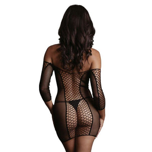 LE DESIR Duo Net Sleeved Mini Dress - Black - One Size