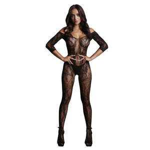 LE DESIR Lace Sleeved Bodystocking - Black - One Size