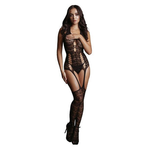 LE DESIR Lace Suspender Bodystocking - Black - One Size