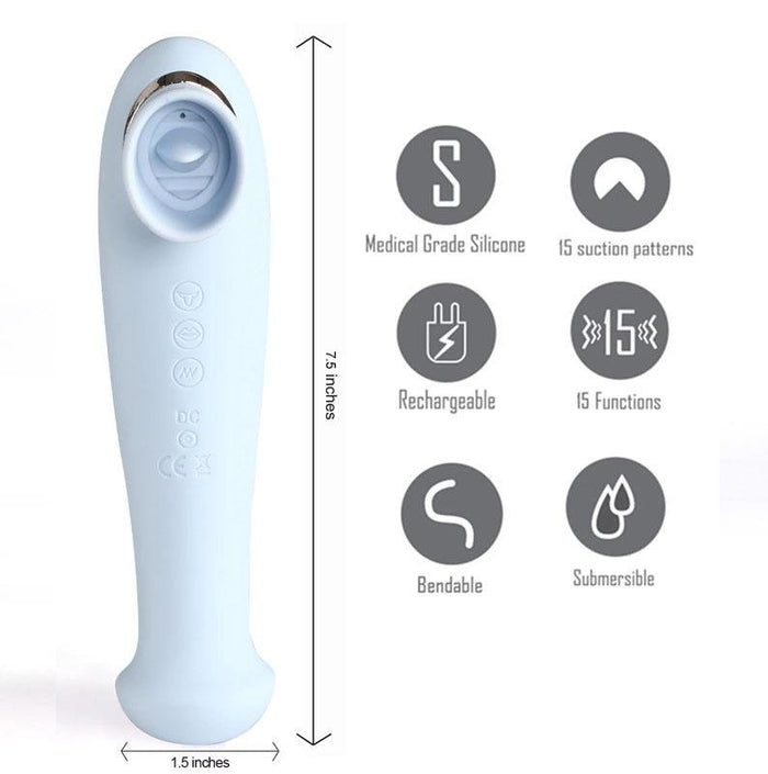 Maia Destiny - Blue Suction Fluttering Tongue Vibrator Wand