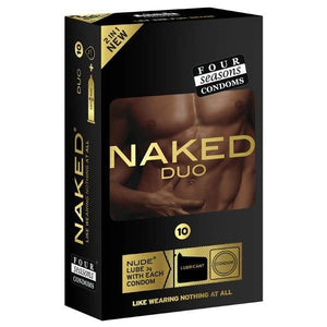 Naked Duo - Ultra Thin Condoms with Lubricant Sachets - 10 Pack