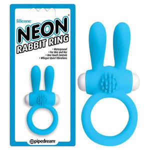 Neon Blue Vibrating Rabbit Cock Ring