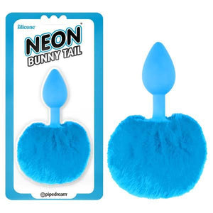 Neon Bunny Tail - Blue 6.4 cm (2.5'') Butt Plug with Fluffy Tail