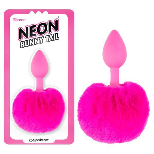 Neon Bunny Tail - Pink 6.4 cm (2.5'') Butt Plug with Fluffy Tail