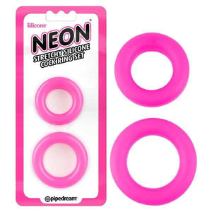 Neon Stretchy Silicone Cock Ring Set - Pink Cock Rings - Set of 2 Sizes
