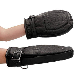 Ouch! Pain Bondage Black Leather Mittens with Metal Teeth