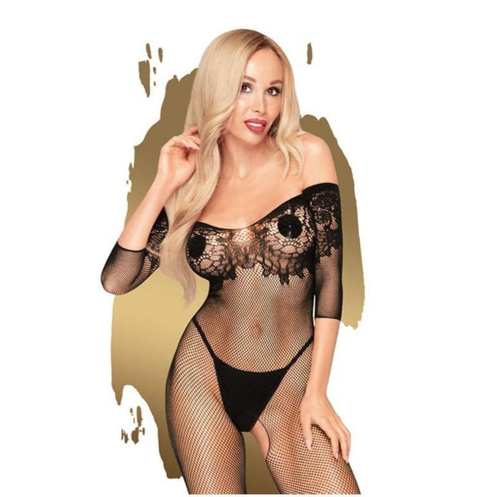 Penthouse HIGH PROFILE - Black Net & Lace Bodystocking - S/L