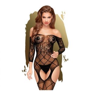 Penthouse TOP-NOTCH - Black Long Sleeved Lace  Bodystocking - S/L