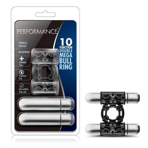 Performance Double Mega Bull Ring - Black Dual Vibrating Cock Ring