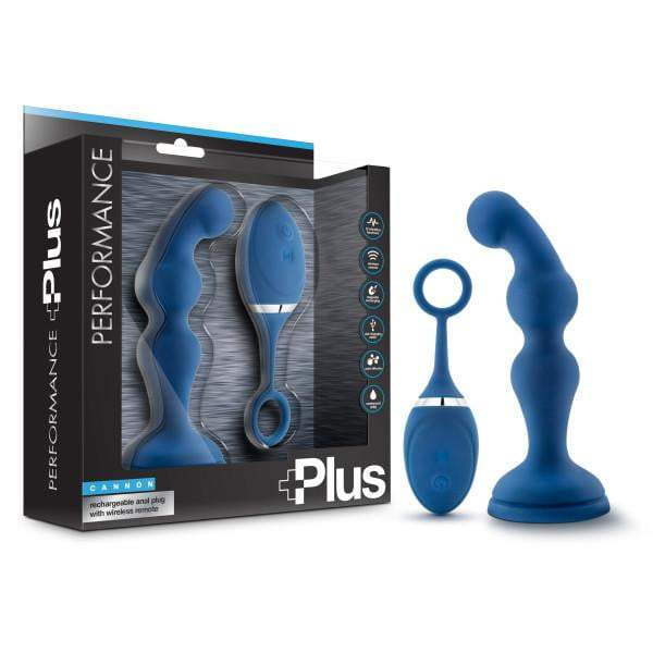 Performance Plus - Cannon - Blue 15.9 cm (6.25'') USB Rechargeable Vibrating Prostate Plug with Wireless Remote