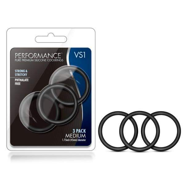 Performance VS1 Pure Premium Silicone Cockrings - Black Medium Cock Rings - Set of 3