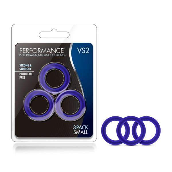 Performance VS2 Pure Premium Silicone Cockrings - Indigo Blue Small Cock Rings - Set of 3