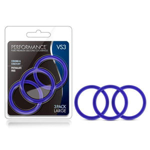 Performance VS3 Pure Premium Silicone Cockrings - Indigo Blue Large Cock Rings - Set of 3