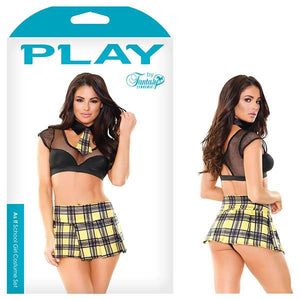 Play As If Schoolgirl Costume Set - Black/Yellow - S/M Size