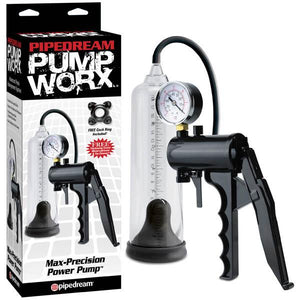 Pump Worx Max-precision Power Pump - Clear/Black Penis Pump with Gauge