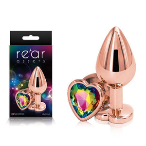 Rear Assets Rose Gold Heart Medium -Metal Butt Plug with Rainbow Heart Gem Base