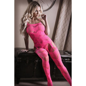 Sheer Fantasy To The Moon Geometric Gartered Bodystocking - Hot Pink OS