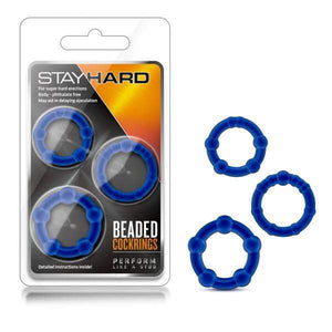 Stay Hard Beaded Cockrings - Blue Cock Rings - Set of 3 Sizes