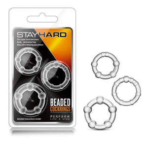 Stay Hard Beaded Cockrings - Clear Cock Rings - Set of 3 Sizes