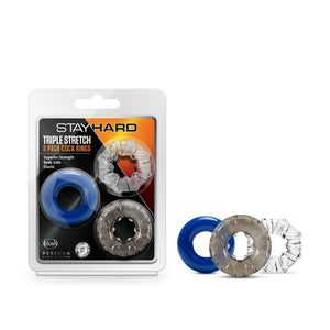 Stay Hard Triple Stretch Colored Cock Rings - Set of 3