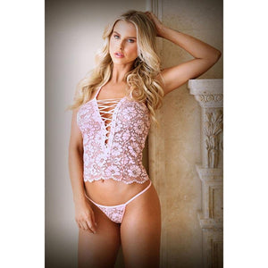 Tease Harper Lace Up Cami & Panty - Pink - S/M Size
