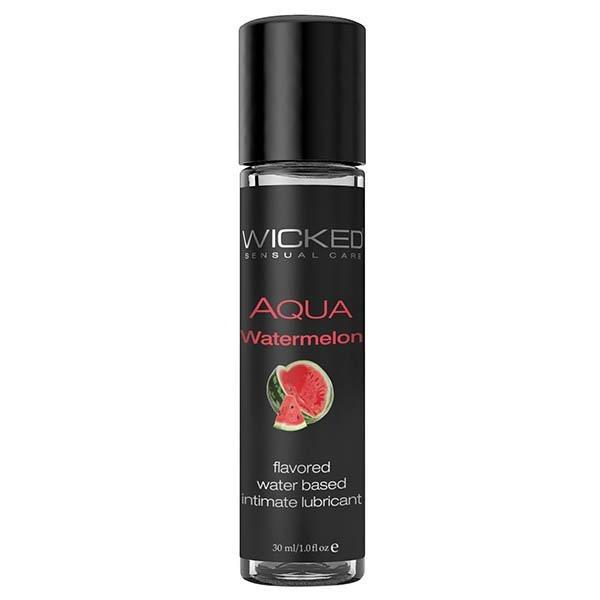 Wicked Aqua Watermelon - Watermelon Flavoured Water Based Lubricant - 30 ml (1 oz) Bottle