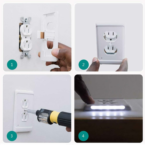 Outlet Wall Plate With LED Night Lights-No Batteries Or Wires