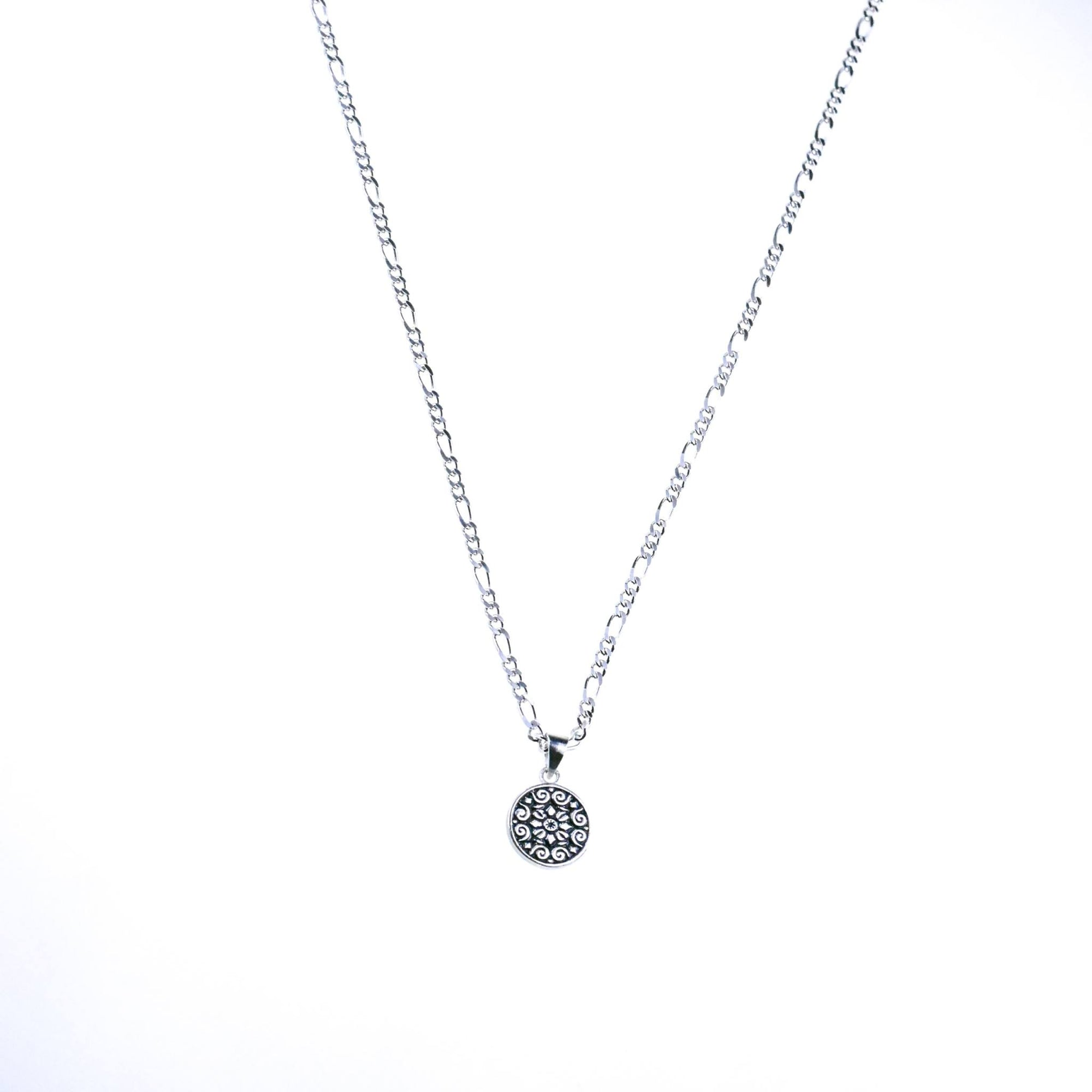 Silver Figaro Necklace with Pendant