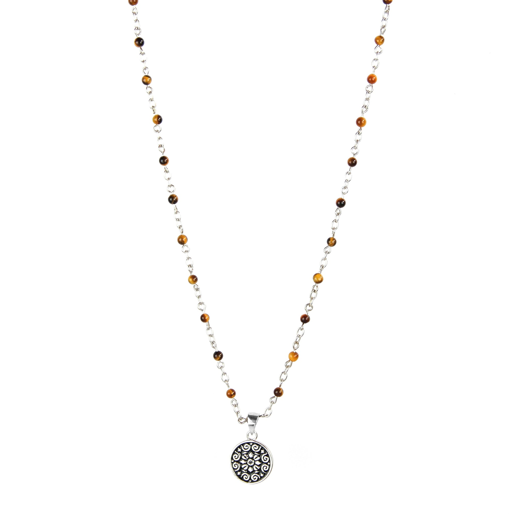 Rosary Yellow Tiger Eyes Beads Necklace
