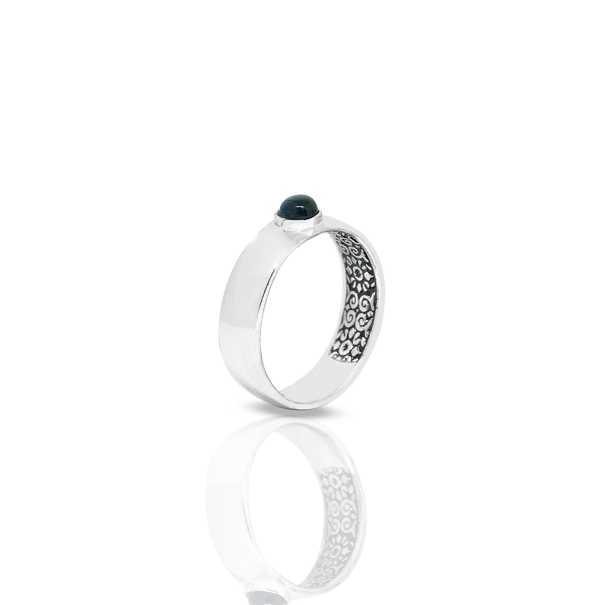 Inner Band Ring With Round Black Opal 4 mm