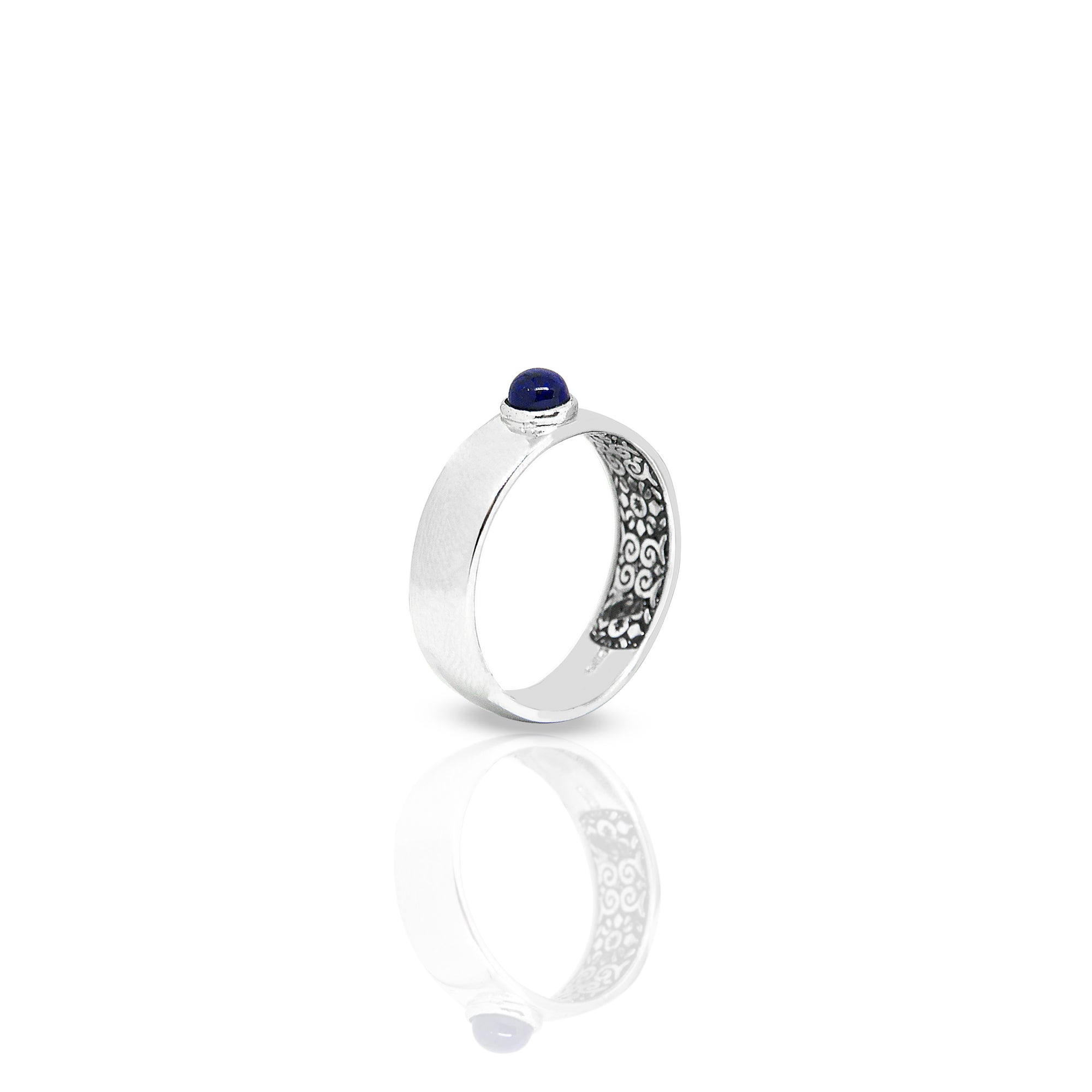 Inner Band Ring With Round Lapis Lazuli 4 mm