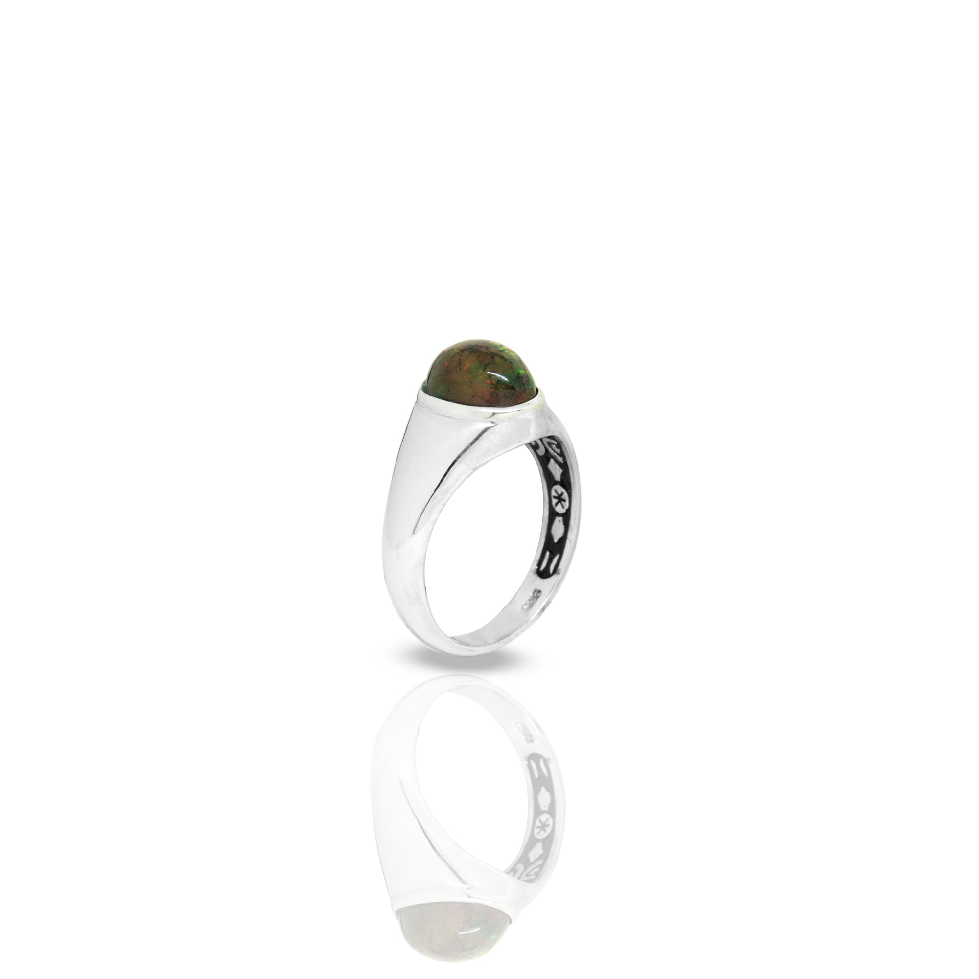 Inner Signet Ring With Oval Black Opal