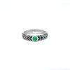 Outer Band Ring With Round Emerald 4 mm