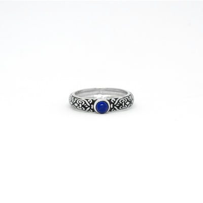 Outer Band Ring With Round Lapis Lazuli 4 mm