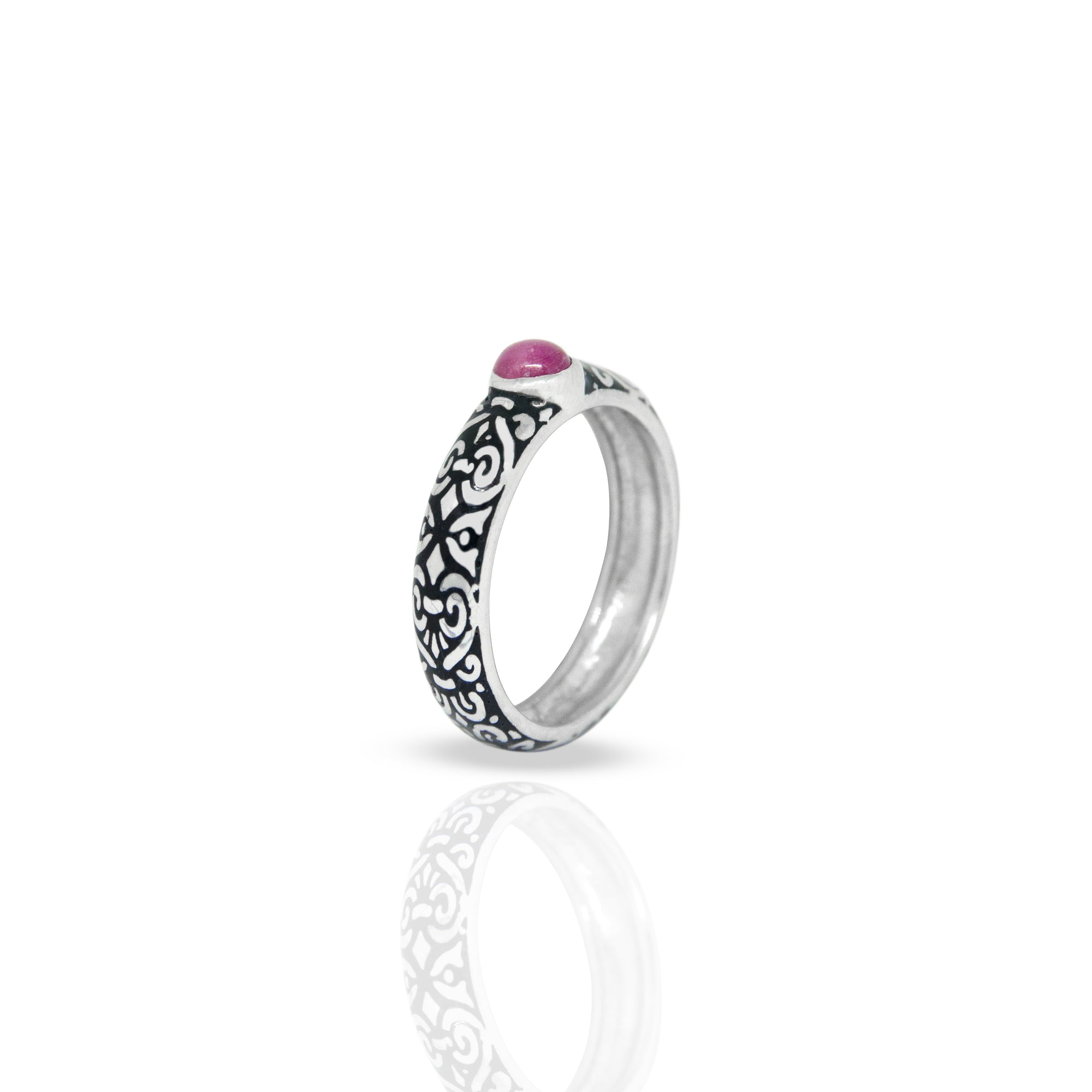 Outer Band Ring With Round Ruby 4 mm