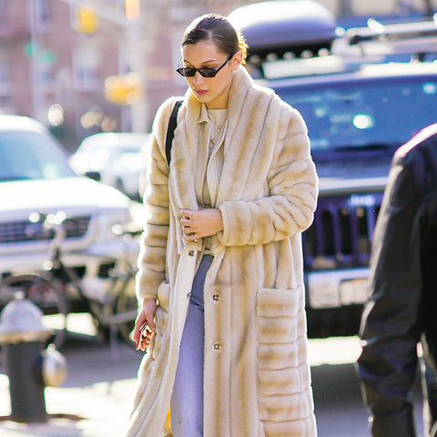Bella Hadid Steps Out in a Major Faux Fur Coat