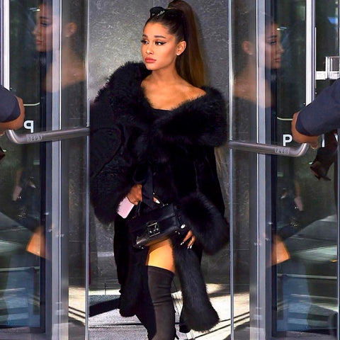 Vegan Singer Ariana Grande Wears I Am Furless Faux Fur Jacket By Luxury Marei1998